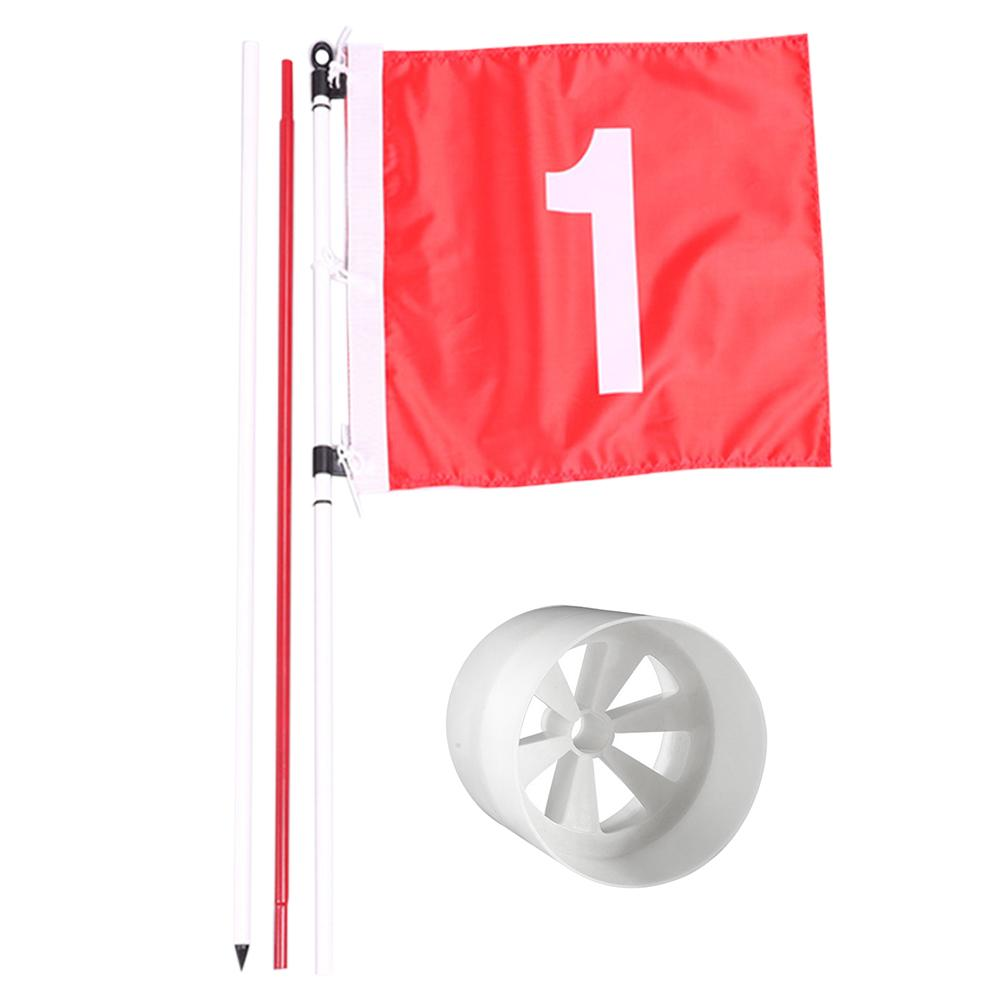Backyard Practice Golf Pole Set Five section Fiber Flagpole with Flag Hole Cup Putting Green Flagstick Iron Golf Accessories|Golf Training Aids| |  - title=