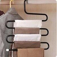Vijf layer Rvs S Type Broek Hangers Multifunctionele Broek Tie Sjaals Riem Handdoek antislip Magie Hanger Opslag Rack