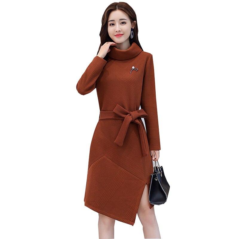 Vestidos 2017 nouveau automne hiver tricot à manches longues femmes robe plus épaisse mode Femme robes irrégulière Femme robe de soirée Vadim
