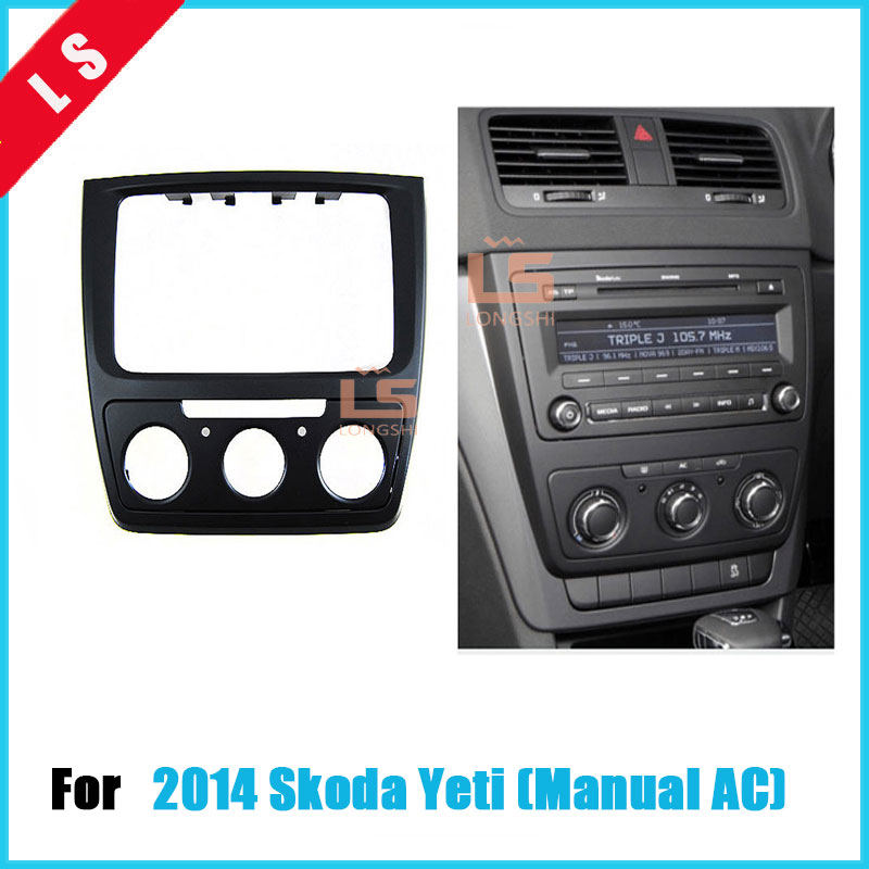 2 DIN Black Double Din Din Car refitting DVD frame,DVD panel,Dash Kit,Fascia,Radio Frame,Audio frame for Skoda yeti (Manual AC) 2 din car refitting frame panel for jaguar s