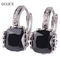 GULICX 2016  White Gold Plated Hoop Earring for Women Fashion Jewelry Black Princess Crystal CZ Zirconia Wedding Jewelry E027