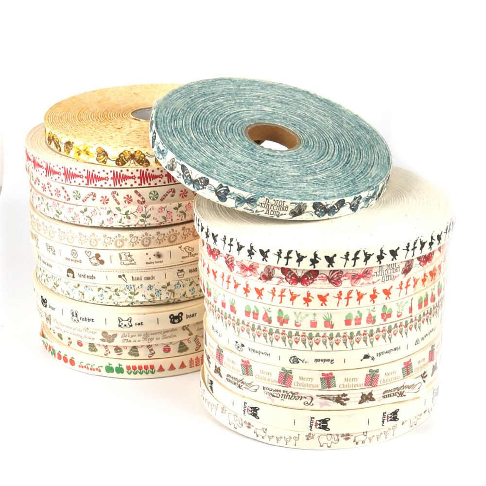"""5 חצר רב עיצוב """"בעבודת יד"""" מודפס כותנה סרט חתונה קישוט כרטיס מתנה לעטוף חג המולד סרט DIY תפירת תחרה בד"""
