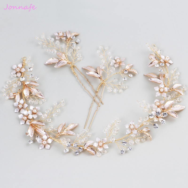 Jonnafe 2018 Boho Women Prom Headband Wedding Hair Vine Pins Gold Leaf Bridal Headpiece Hair Accessories jonnafe handmade red flower wedding prom hair clip jewelry gold leaf bridal hair accessories comb headpiece