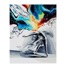 RIHE Abstract Dance Girl DIY Framed Figure Oil Painting By Numbers Pictures Canvas For Living Room Wall Art Home Decor