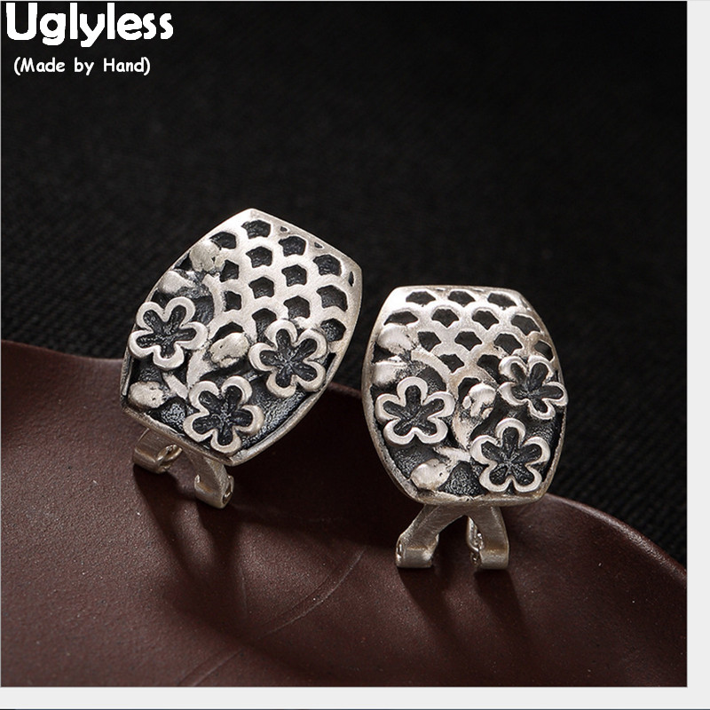 Uglyless Vintage Ethnic Handmade Flower Stud Earrings for Women Square Thai Silver Studs 100% Real Solid 925 Silver Fine Jewelry