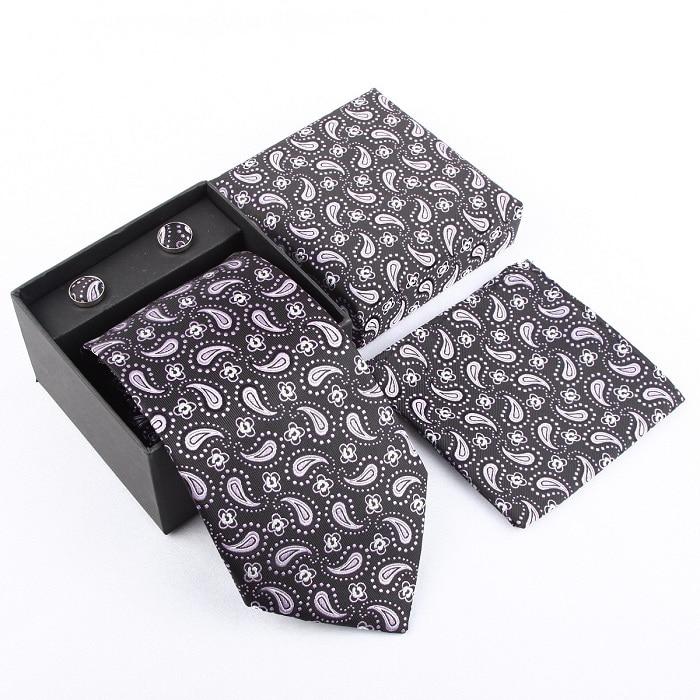 Мужская мода высокого качества набор галстуков галстуки запонки шелковые галстуки Запонки Карманный платок - Цвет: 29