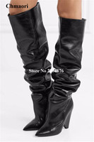 Hot Selling Women Fashion Black Brown Slip On Basic Pointed Toe Knee High Boots Solid Rome Sring Autumn Sexy Shoes