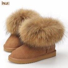 INOE Fashion Cow Split Leather Big Fox Fur Girls Winter Short Ankle Snow Boots