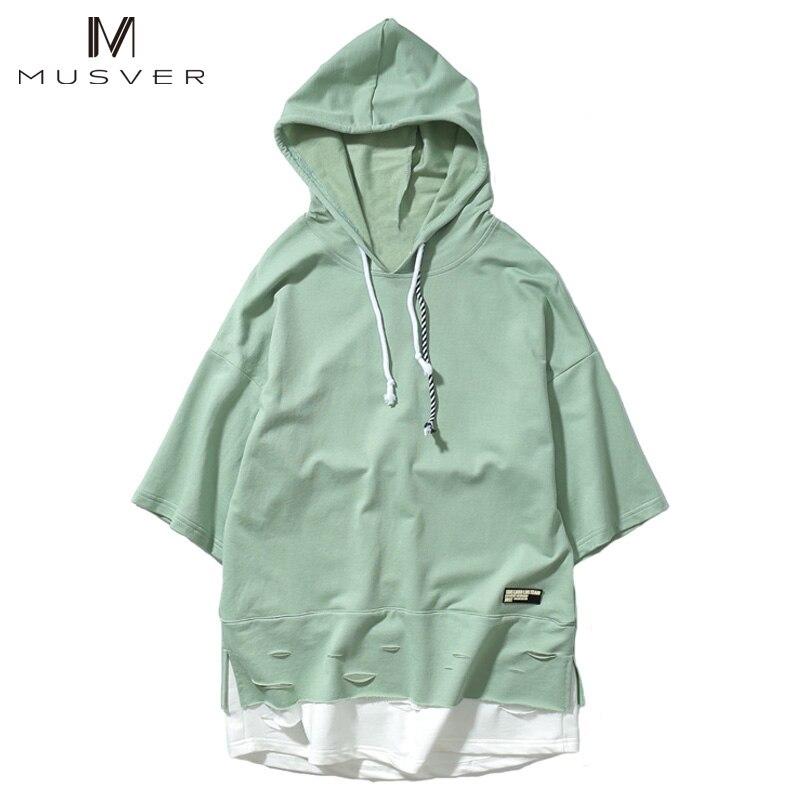 MUSVER 2017 Summer Fashion Men Drawstring Hooded T-Shirts Stitching Extend Black Green Hip Hop Short Sleeve Ripped Loose T Shirt