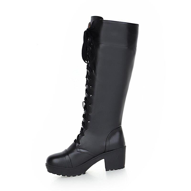 blanco Plataforma Las Botas white Add 48 Cuadrados Negro Zapatos Negro Piel Fur Interior Gran black 2018 Tacones Tamaño De Añadir 33 Mujeres Mujer Fur Karinluna 6wxHAqY8c