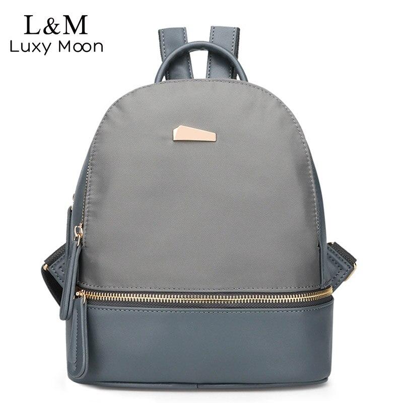 Fashion Nylon & PU Leather Backpack Female School Bag Solid  Rucksack Brand Shoulder Bags For Teenage Girls Blue Backpacks XA454Fashion Nylon & PU Leather Backpack Female School Bag Solid  Rucksack Brand Shoulder Bags For Teenage Girls Blue Backpacks XA454