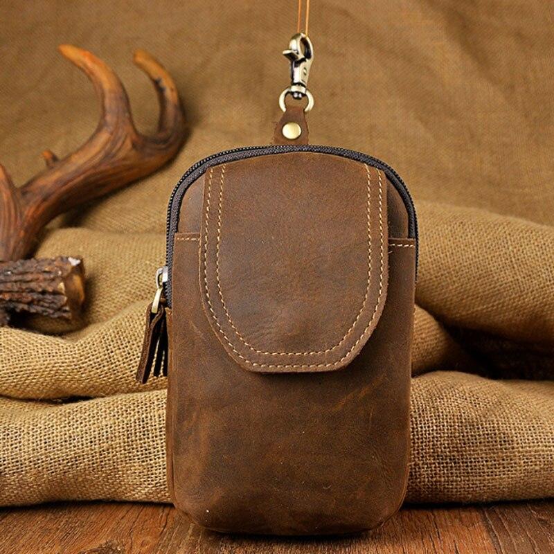 Men's Crazy Horse Cowhide Waist Bag Vintage High Quality  Cell Phone Case Cover Trend Hook Belt Fanny Waist Bag Wallet Men Bags