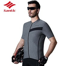 Santic Men Bike Jersey Bicycle Short Sleeve Downhill Racing Cycling Clothes Quick Dry Breathable Jersey Tops Ropa Ciclismo