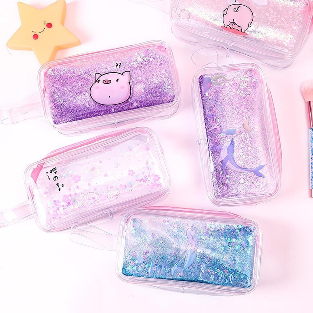 Cartoon Mermaid Pig Flower Quicksand Oil Cosmetic Bags Transparent Pencil Case Stationery Makeup Bag