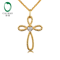 Caimao Twisted Rope Cross Heart Shape Natural Diamonds Real 14k 585 Yellow Gold Pendant for Women