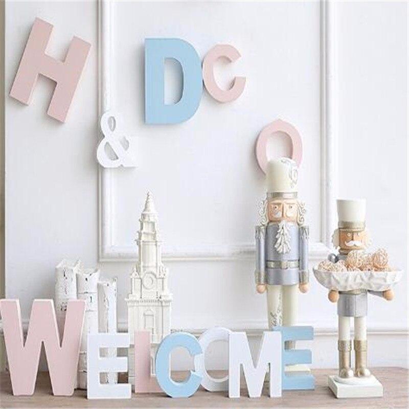 Купить с кэшбэком Wood Wooden Letter English Alphabet Thick 15MM DIY Personalized Name Design Art Craft Free Standing Heart Wedding Home Decor