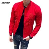 Embroidery Men Jacket Fashion Casual Slim Design Streetwear Baseball Coat Long Sleeve Solid Color Hip Hop Men Jackets Black Red