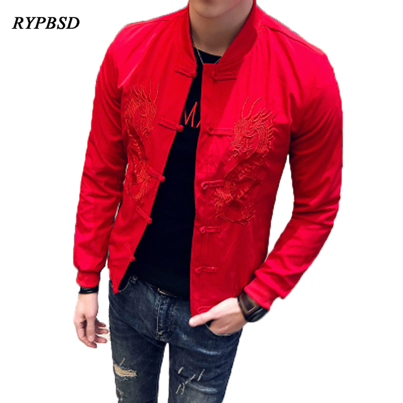 Embroidery Men Jacket Fashion Casual Slim Design Streetwear Baseball Coat Long Sleeve Solid Color Hip Hop Men Jackets Black Red
