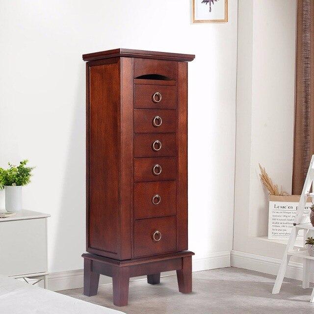 Goplus Wood Jewelry Cabinet Armoire Storage Box Chest Stand Chain Organizer Retro With 6 Drawers