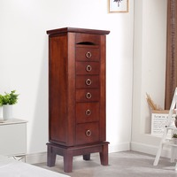 Goplus Wood Jewelry Cabinet Armoire Storage Box Chest Stand Chain Organizer Retro Cabinet with 6 Drawers and Top Mirrors HW52432