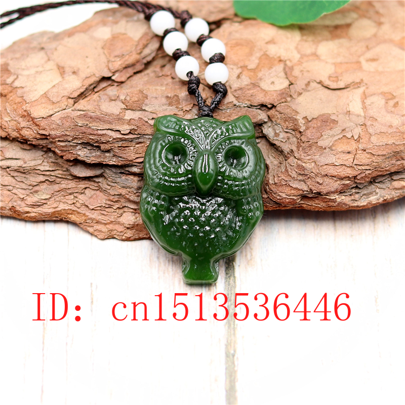 Natural Green Chinese Jade Owl Pendant Necklace Charm Jewellery Fashion Accessories Hand-Carved Luck Amulet Gifts