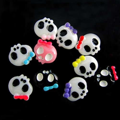 Skull Beads 200pcs 10x9mm Nail Art Supplies Lovely Skull Nail Decoration Manicure Sticker Many Colors  Glue on Skull Beads