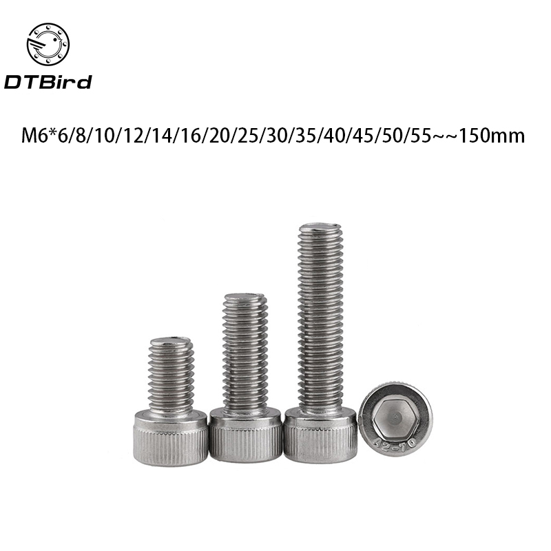 M6 A2 304 Stainless Allen Socket Cup Head Machine Screws Bolt M6 *8-150mm