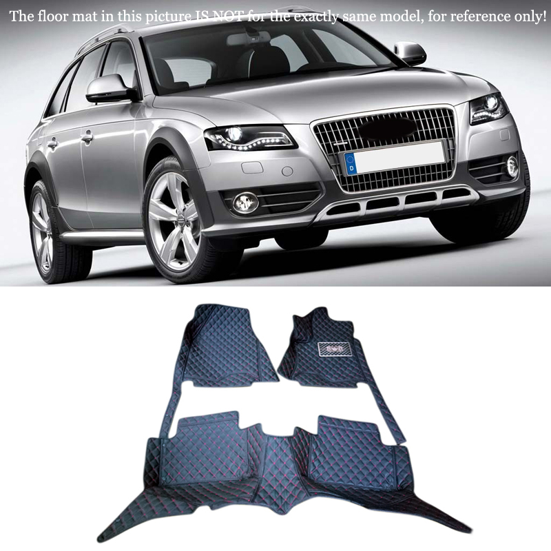 Interior Leather Floor Mats & Carpets 1set Left hand drive For Audi A4 Station Wagon 2008-2010 2011 2012 2013 2014 2015 2016 10 13 for audi a3 8v quality leather mats inner carpet foot mat 2010 2011 2012 2013