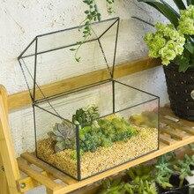 Free Shipping Modern Glass Geometric Terrarium House Shape Tabletop Succulent Plant Terrarium Box Bonsai Flower Pot