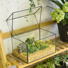 Free Shipping Modern Glass Geometric Terrarium House Shape Tabletop Succulent Plant Terrarium Box Bonsai Flower Pot DIY Planter