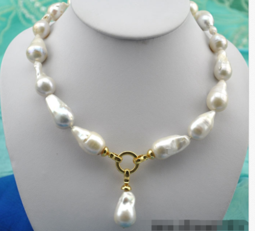 gorgeous 14-15mm south sea baroque white pearl necklace +pendant 18inch >>>women jewerly