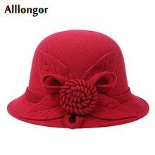 2019 Autumn Winter derby hat Women Elegant Floral Solid sombrero mujer Fedora Hat ladies Formal Vintage Wool Felt Bowler Red