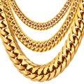 U7 collares para hombres Miami enlace cubano cadena de oro joyería de Hip Hop largas cadenas de acero inoxidable grueso grande collar regalo N453