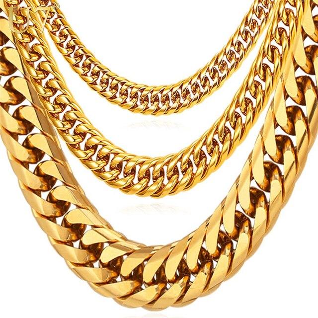 U7 naszyjniki dla mężczyzn Miami kubański Link złoty łańcuch Hip Hop biżuteria długie łańcuchy ze stali nierdzewnej o grubości duży masywny naszyjnik prezent N453