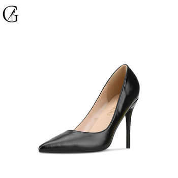 GOXEOU Women\'s Pumps Thin Heel High Heels Sexy Pointed Toe Shining Handmade Office Ladies Shoes size32-46