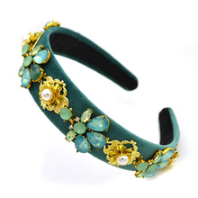 Vintage bridal headdress Gem Beads Women Flower Baroque Hairband Crystal Headband Bridal tocado boda headbands Jewelry