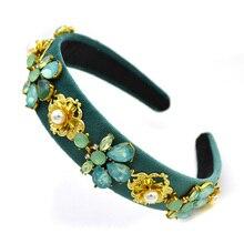 Tocado de novia Vintage cuentas de gemas flor barroca diadema de cristal nupcial tocado boda joyas de diademas