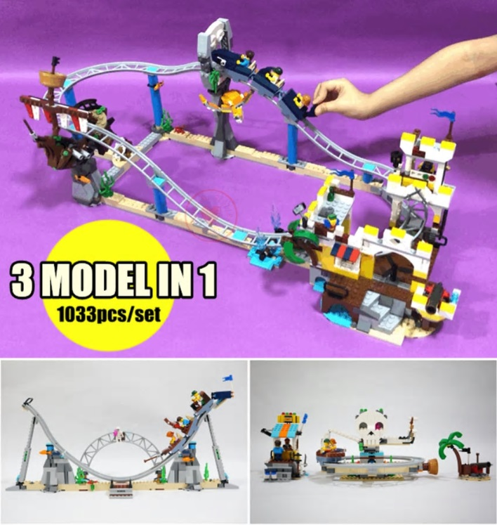 Toys for children Model 3 in 1 City the Pirate Roller Coaster fit creator technic city