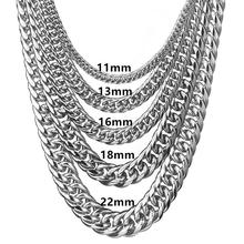 Granny Chic Chains Stainless Steel Silver Necklace for Men Women Curb Cuban Fashion Jewelry Gift 7/9/11/13/16/18/22mm chic y shaped chains necklace jewelry for women