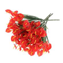 Simulation Plastic Flower Anthurium Indoor And Outdoor Decoration Fake Single Bundle Dining Table Desktop