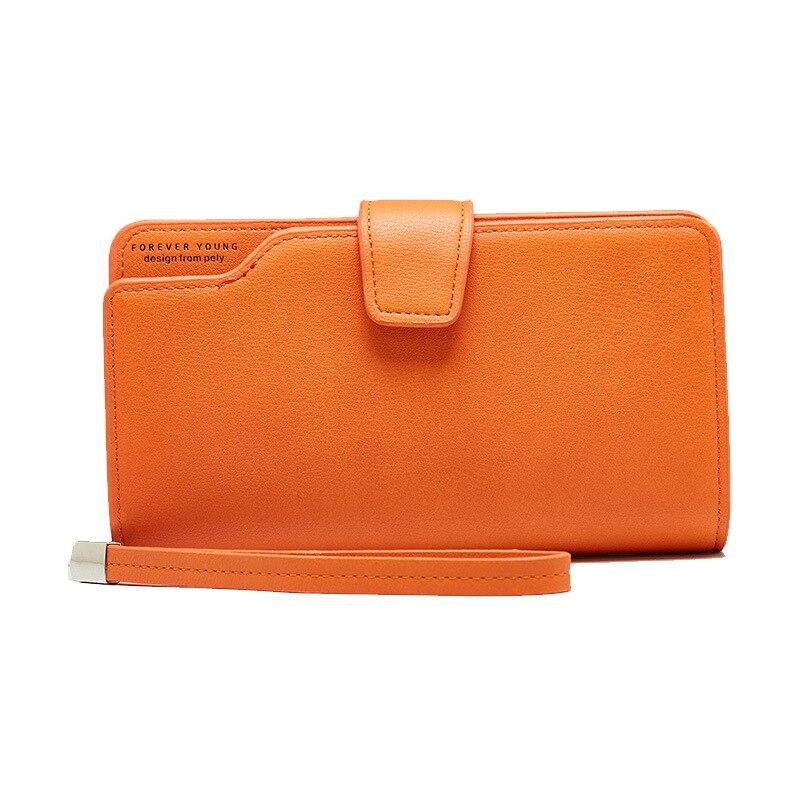 Женский кожаный кошелек, кошелек для отдыха, 3 сложения, высокое качество, Женский Длинный кошелек для монет, много слотов для карт, кошельки, Carteira Feminina - Цвет: Orange