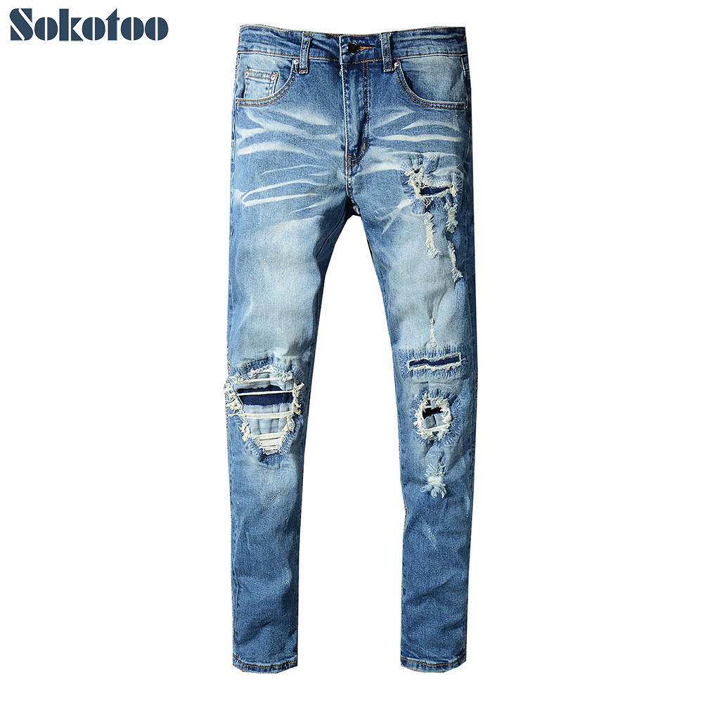 Sokotoo Men's patch design blue ripped stretch   jeans   Slim fit patchwork distressed denim pencil pants
