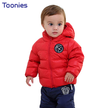 Jackets for Baby 2018 Winter Infants Down Coats Christmas Warm Jacket Solid Clothes Hooded Toddler Parkas Newborn Coats 1-2 Yrs(China)