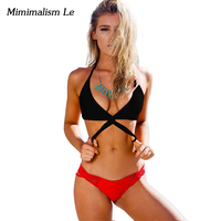 Minimalism Le Sexy Cross 2017 New Patchwork Women Swimwear Swimsuit Push Up Brazilian Halter Top Bathing