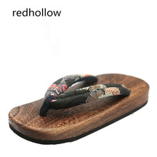 Japanese SAMURAI Clogs Wood Sandals Man clogs flat wood heel square toe shoes summer plank slippers sandals