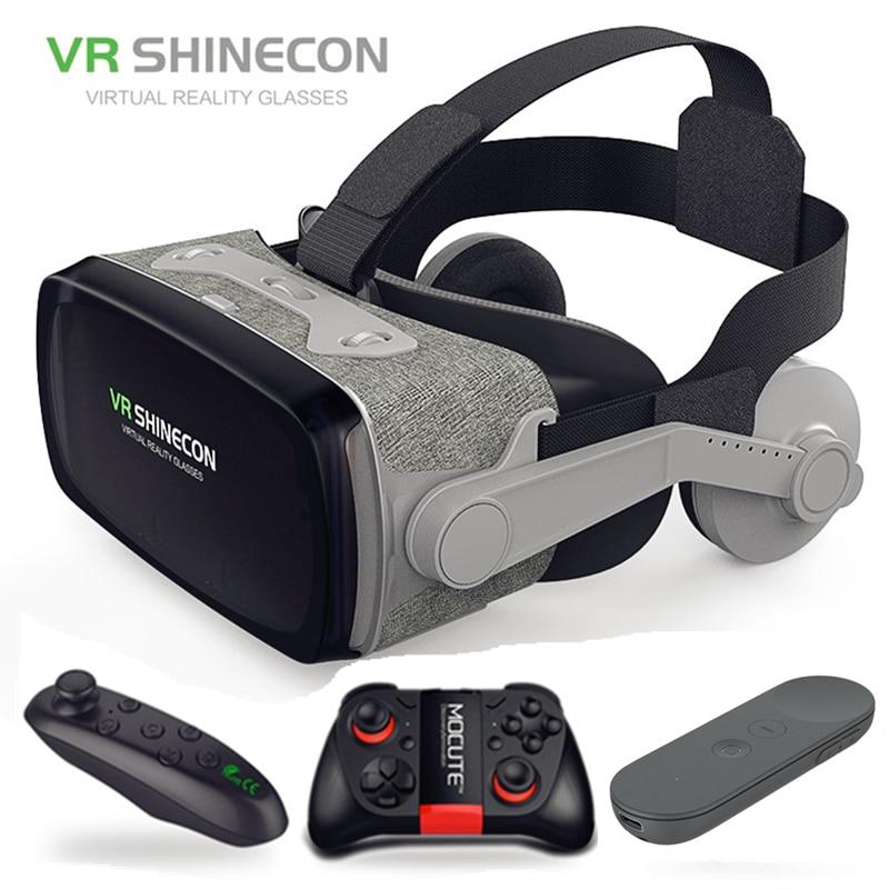 Óculos + Gamepad Remoto sem Fio Google Papelão Shinecon 9.0 Pro Versão Realidade Virtual 3d Controle Bluetooth Inteligente 2019 vr