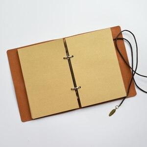 Image 3 - Cuaderno Retro en espiral MaoTu, cuaderno Vintage de viaje, diario antiguo, carpeta de anillas, cuaderno de regalo, papel Kraft en blanco