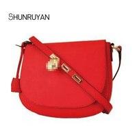 SHUNRUYAN Fashion Women's Bag Lock Saddle Bag Clamshell Crossbody Chain Women's Shoulder Bag