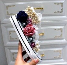 Koovan Women's Boots 2018 Spring Canvas Shoes White Female High Help Custom Rhinstone Sequins Flowers Flat Shoes For Girls