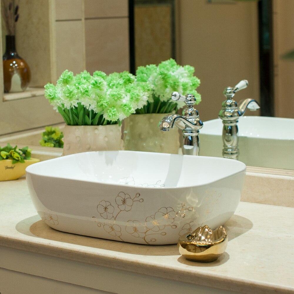 Bathroom above counter basin ceramic bathroom vanity bathroom sink basin small gold flower LO620447